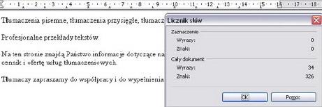 liczba znaków OpenOffice