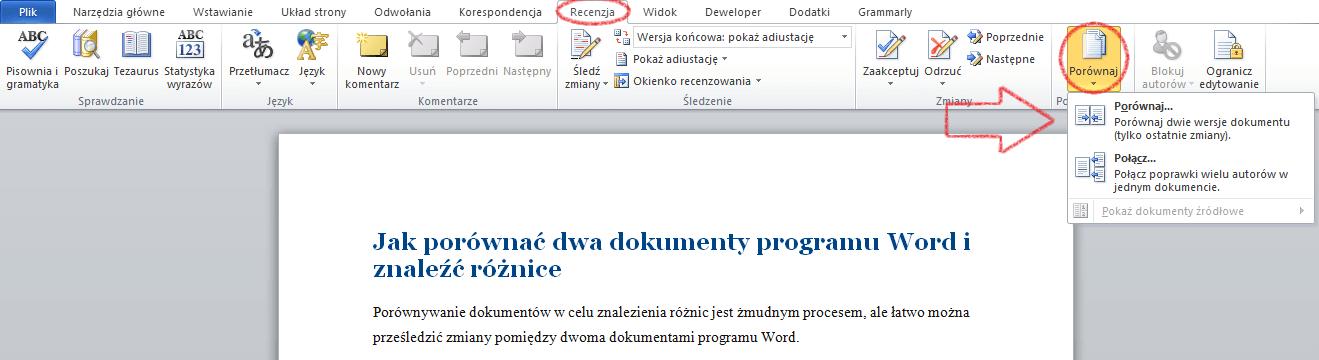 Jak porównać dwa dokumenty programu Word i znaleźć różnice? To proste! 2